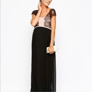 ASOS Maternity Maxi Dress Chiffon Lace Overlay